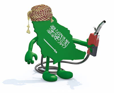 A cartoon of the country of Saudi Arabia wearing a turban, holding a gas pump