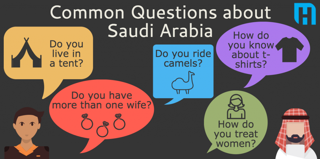 Westerners often ask Saudis about women, camels, tents, wives and other stereotypes